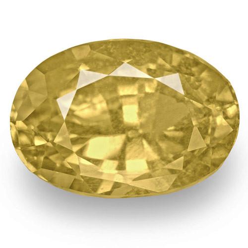 IGI Certified Madagascar Yellow Sapphire, 3.93 Carats, Brownish Yellow Oval