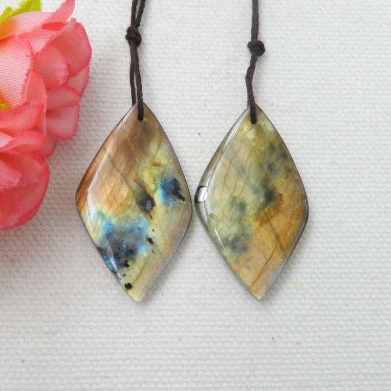 44cts Natural Labradorite Drilled Earrings Bead, stone for earrings making