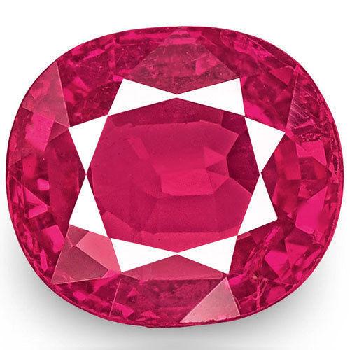 IGI Certified Burma Ruby, 1.08 Carats, Lustrous Pinkish Red Cushion