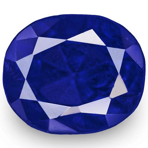 IGI Certified Burma Blue Sapphire, 1.24 Carats, Rich Royal Blue Oval