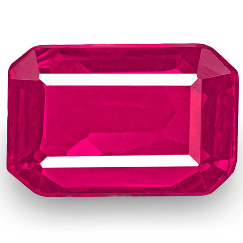 IGI Certified Mozambique Ruby, 1.01 Carats, Deep Pinkish Red Emerald Cut