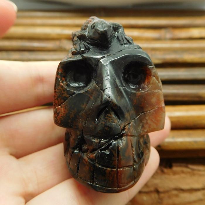 Mahogony obsidian handcrafted skull decoration (G1029)