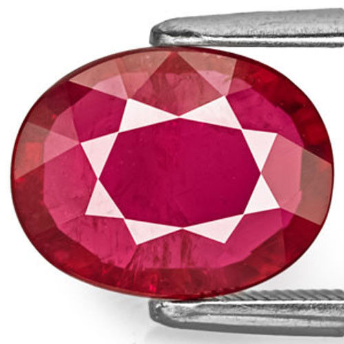 AIGS Certified Mozambique Ruby, 3.42 Carats, Deep Magenta Red Oval