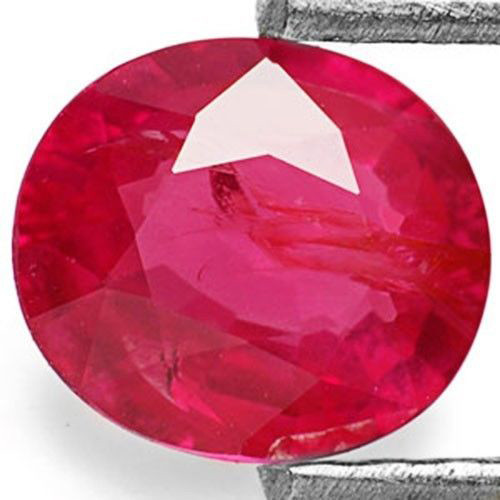 Mozambique Ruby, 0.75 Carats, Pinkish Red Oval