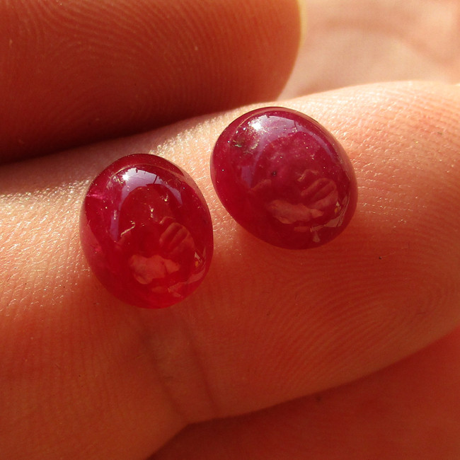 7.04cts Natural Ruby Matching Oval Cabochons