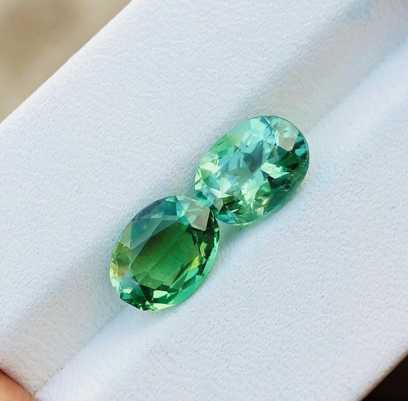 3.45 Ct Natural Greenish Transparent Tourmaline Gemstones Pairs