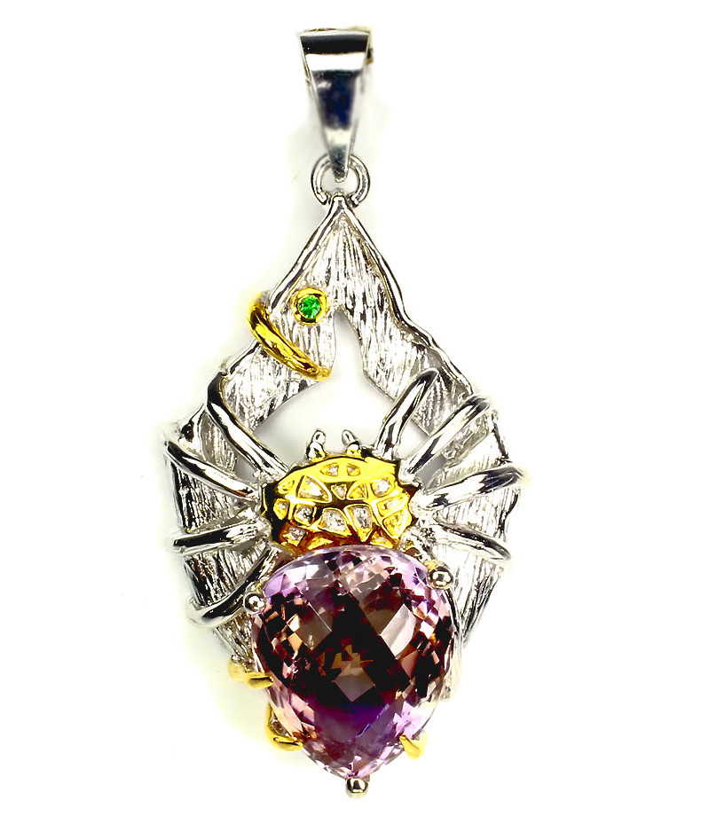 'Charlotte' Huge Ametrine  Chrome Diopside Spider Gold & Sterling Pendant