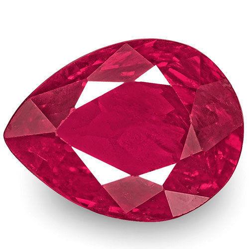 IGI Certified Burma Ruby, 1.04 Carats, Deep Pinkish Red Pear