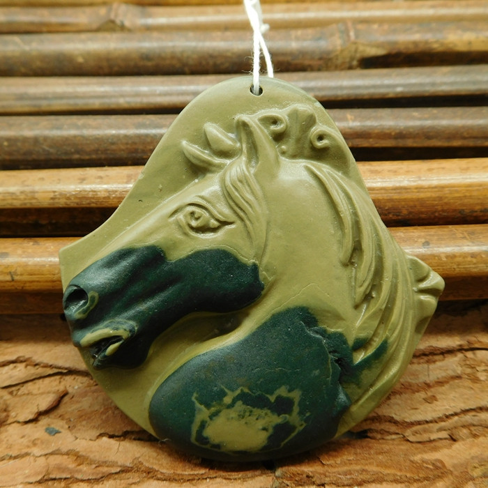 Natural gemstone agate carved horse pendant bead (G1047)