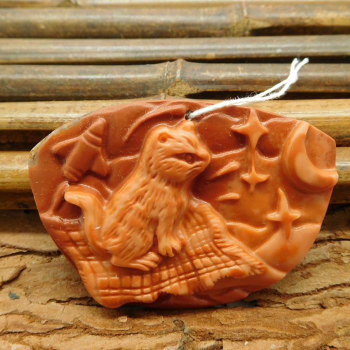 Animal carving cat pendant bead (G1046)