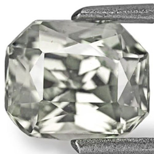 IGI Certified Sri Lanka Fancy Sapphire, 1.67 Carats, Light Grey Emerald Cut