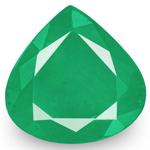 Zambia Emerald, 3.22 Carats, Velvety Intense Green Pear
