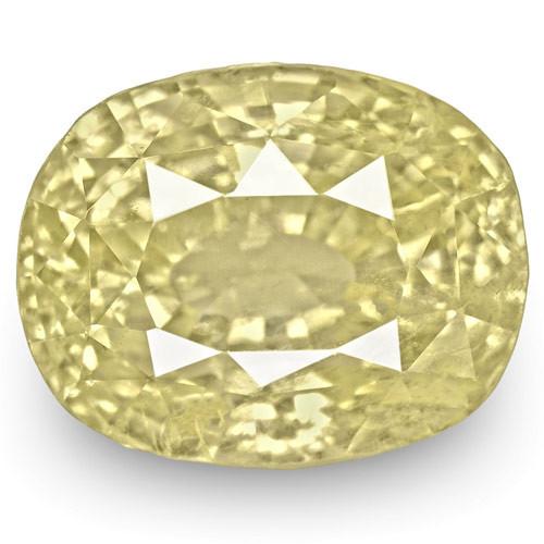 GIA Certified Sri Lanka Yellow Sapphire, 6.05 Carats, Light Yellow Cushion