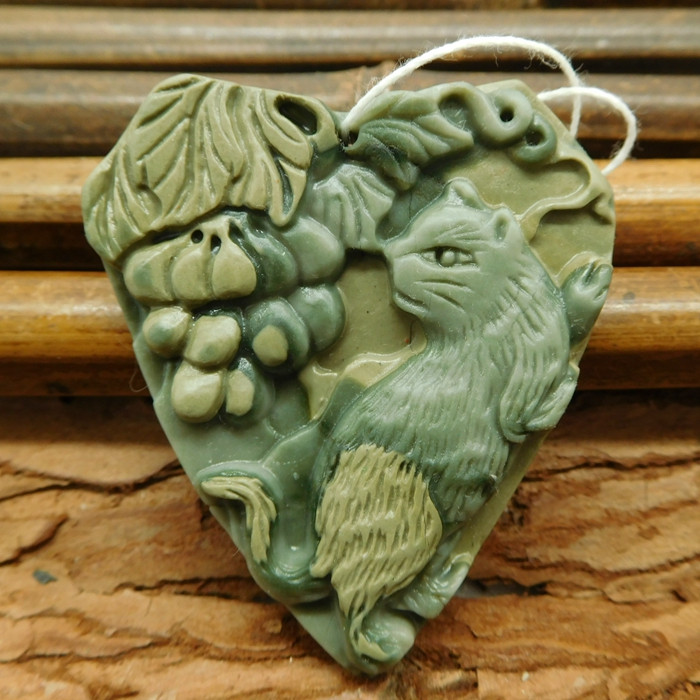 Agate carved cat animal jewelry (G1050)
