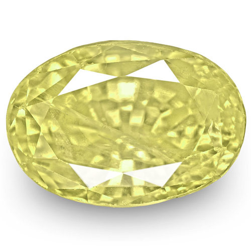 IGI Certified Sri Lanka Yellow Sapphire, 3.92 Carats, Intense Yellow Oval