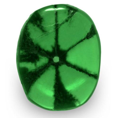 Colombia Trapiche Emerald, 0.58 Carats, Intense Green Oval