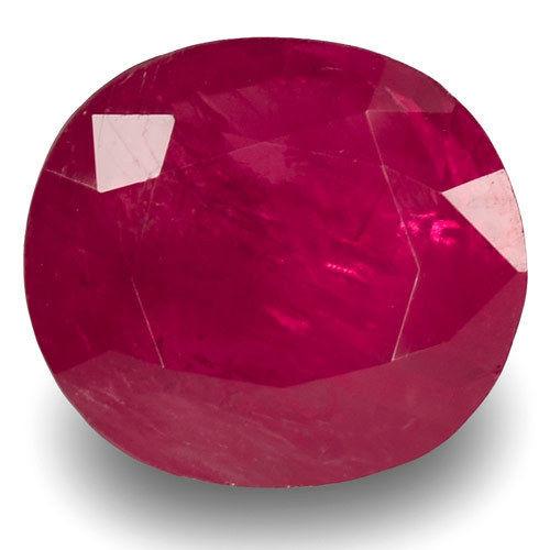 IGI Certified Burma Ruby, 2.61 Carats, Dark Pinkish Red Oval