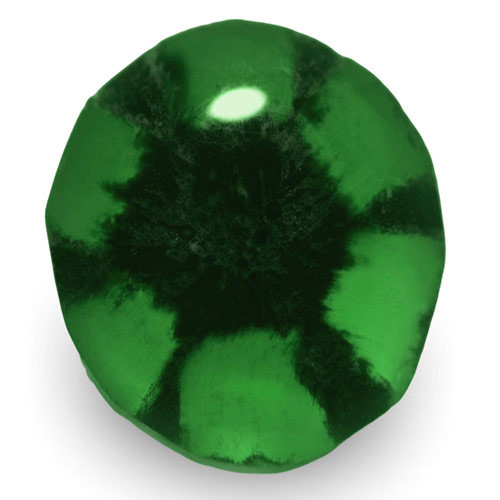 Colombia Trapiche Emerald, 0.63 Carats, Royal Green Oval
