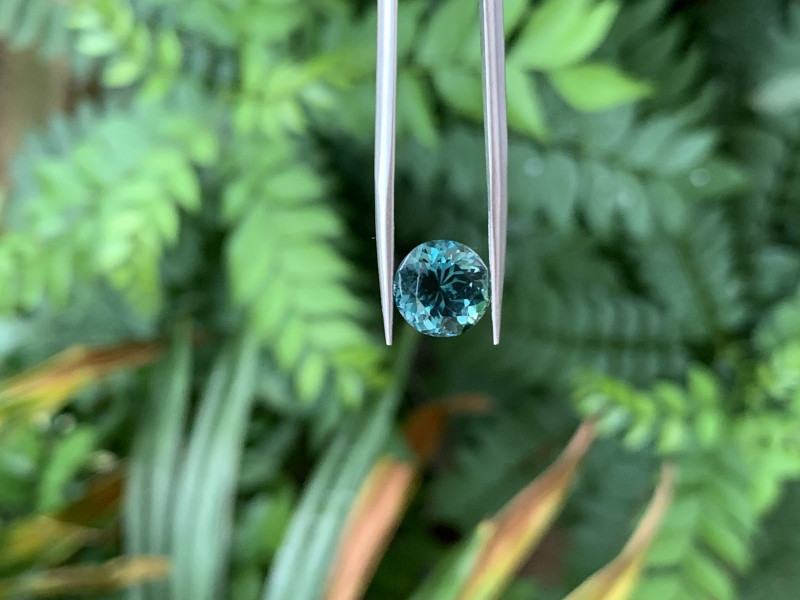 3.57 round faceted blue tourmaline, no treatment.