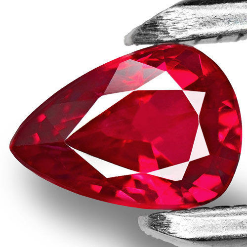 Mozambique Ruby, 0.97 Carats, Vivid Red Pear