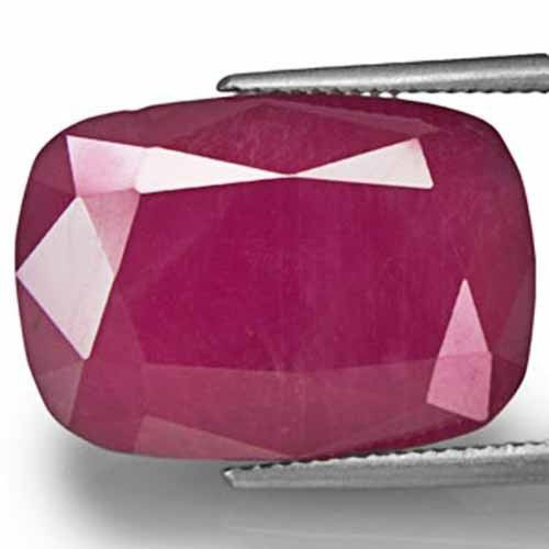 AIGS Certified Liberia Ruby, 20.36 Carats, Purplish Red Cushion