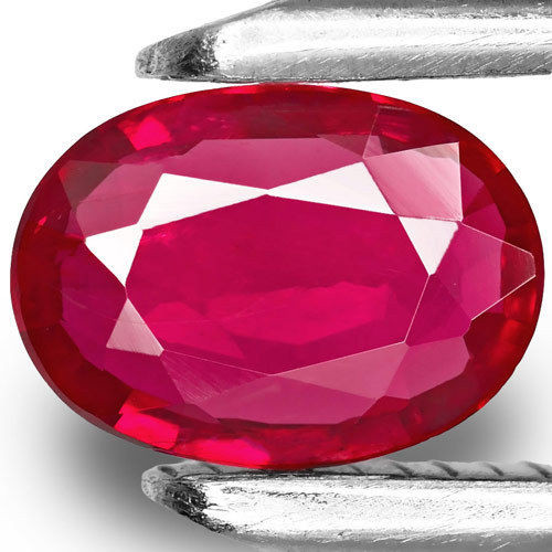 Mozambique Ruby, 0.77 Carats, Intense Pinkish Red Oval