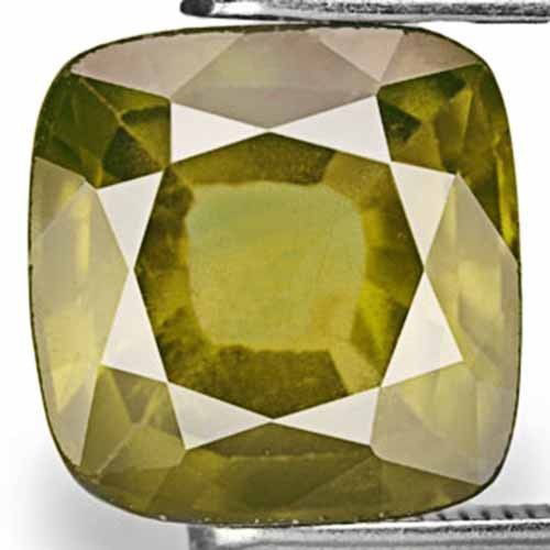 AIGS Certified Madagascar Fancy Sapphire, 4.45 Carats, Golden Olive Green