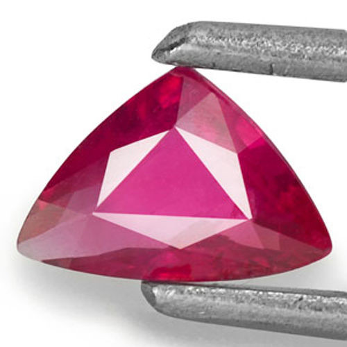 Mozambique Ruby, 0.34 Carats, Pinkish Red Trilliant