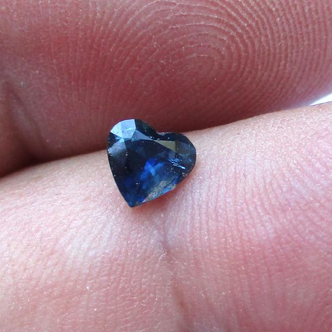 0.54cts Natural Australian Blue Sapphire Heart Shape