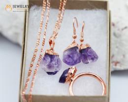 Raw Amethyst Jewelry Sets