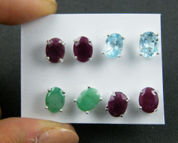 TRADE DEAL 4  SETS 8X6 MMGEMSTONES   SILVER EARRINGS  MYT 16