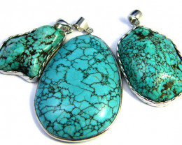 THREE TURQUOISE COL PENDANTS SET IN  PENDANT  AAA2211