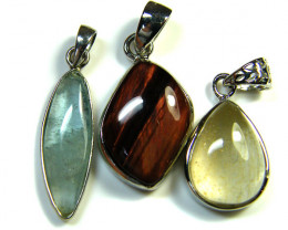 THREE PENDANTS RUTILATED QUARTZ,TIGER,AQUAMARINE  AAA2376