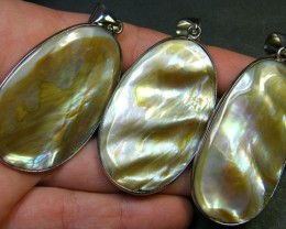 PARCEL 3 NATURAL PEARL SHELL PENDANT  DOUBLE SIDED  AAA1774