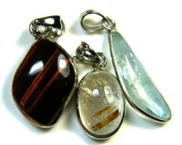 THREE PENDANTS QUARTZ,TIGER,AQUAMARINE  AAA2385
