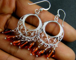 CLUSTER AMBER   SILVER EARRINGS  MYT 254