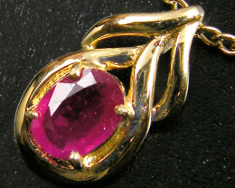 NATURAL RUBY 14K YELLOW GOLD PENDANT  MYT 801