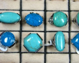 RESELLERS  DEAL 8 LARGE TURQUOISE COL RINGS  AAT631