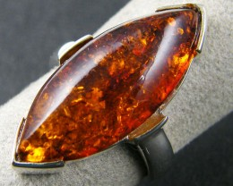 MODERN AMBER  SILVER RING SIZE 8  MYT 746