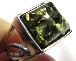 SQUARE SHAPE  BALTI AMBER IN SILVER RING SIZE 6.5  MYG 637