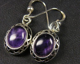 SILVER SHEPPARD HOOK AMETHYST  EARRINGS MYG 1055