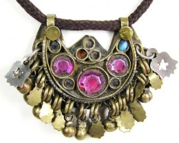 TRADITIONAL TIBETAN SILVER NECKLACE  82 CTS TR 859