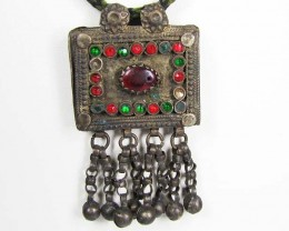 TRADITIONAL TIBETAN SILVER NECKLACE  132  CTS TR 860