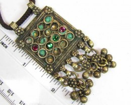 TRADITIONAL TIBETAN SILVER NECKLACE  122  CTS TR 863
