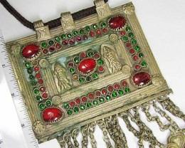 TRADITIONAL LARGE  TIBETAN SILVER NECKLACE 686   CTS TR 874
