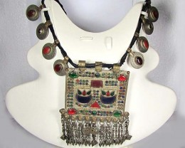TRADITIONAL TIBETAN SILVER NECKLACE N COINS 1271  CTS TR 877