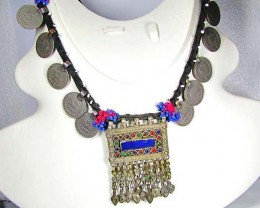 TRADITIONAL TIBETAN SILVER NECKLACE N COINS  533  CTS TR 879