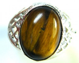 NR CAB TIGERS EYE  TIBET SILVER  RING SIZE 10   TR 278