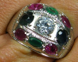 NATURAL MULTI GEMSTONE  RING SIZE 9  ST 315