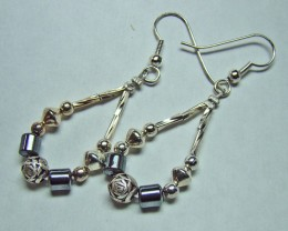 BEAUTIFUL EARRINGS WITH HEMATITE BEADS 4G DF-30